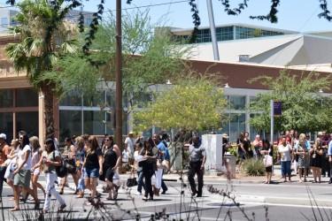 Phoenix city people walking across street (1100) Foundation site
